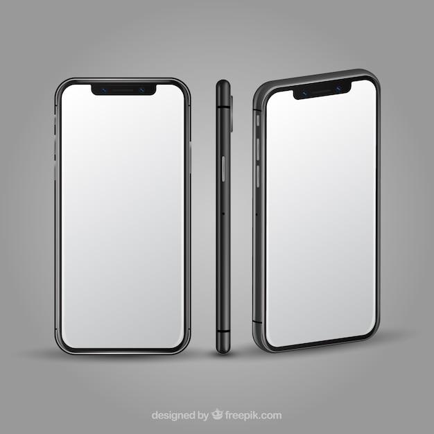 Iphone x avec des vues différentes dans un style réaliste Vecteur gratuit