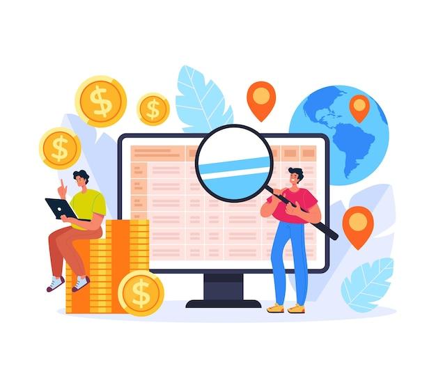 Ipo Global Recherche Investissement Augmenter Le Concept De Commerce Illustration De Conception Graphique Plate Vecteur Premium
