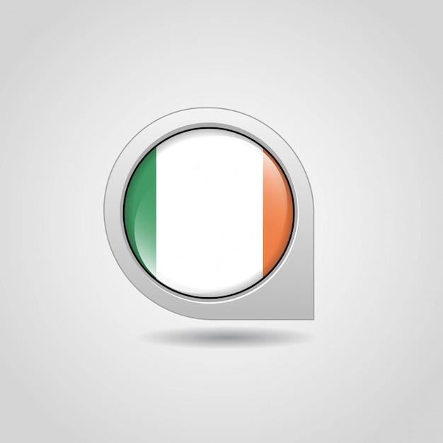 Irlande drapeau carte navigation design vecteur Vecteur gratuit