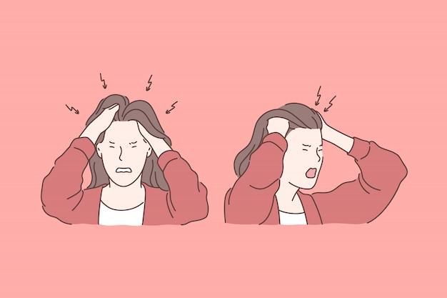 Irritation, Maux De Tête, Concept D'émotions Négatives Vecteur Premium