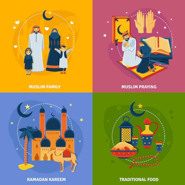 Islam icons set Vecteur gratuit