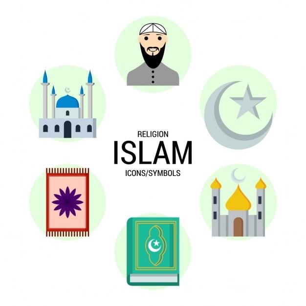Islam religion symboles icône Vecteur gratuit