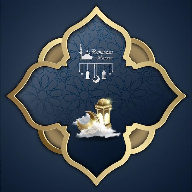 Islamique ramadan kareem conception illustration abstraite de mandala et lanterne Vecteur Premium