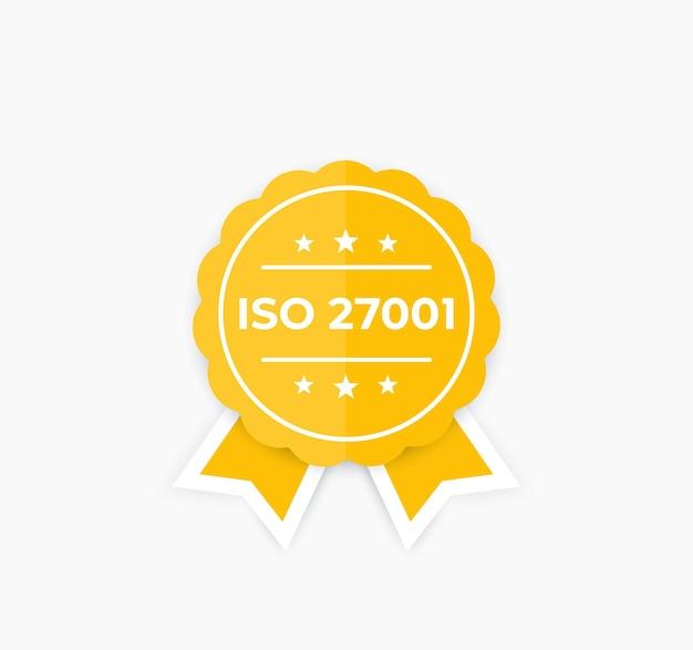 Iso 27001, Norme De Sécurité De L'information, Badge. Vecteur Premium