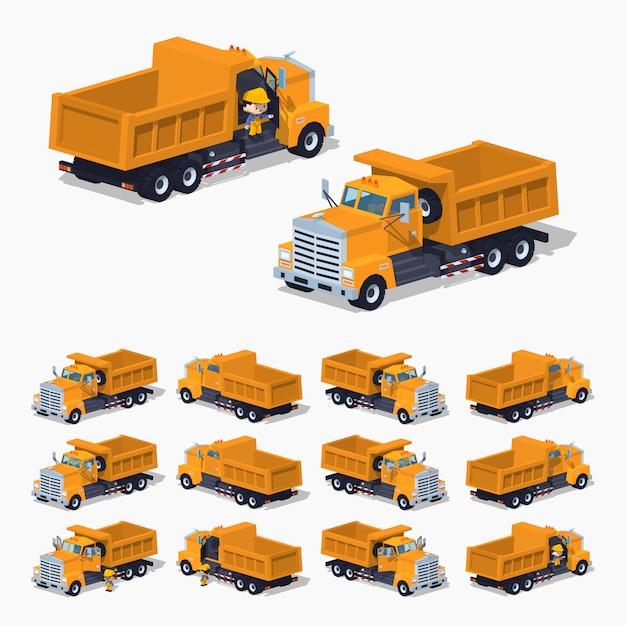 Isolé dumper 3d lowpoly orange orange Vecteur Premium