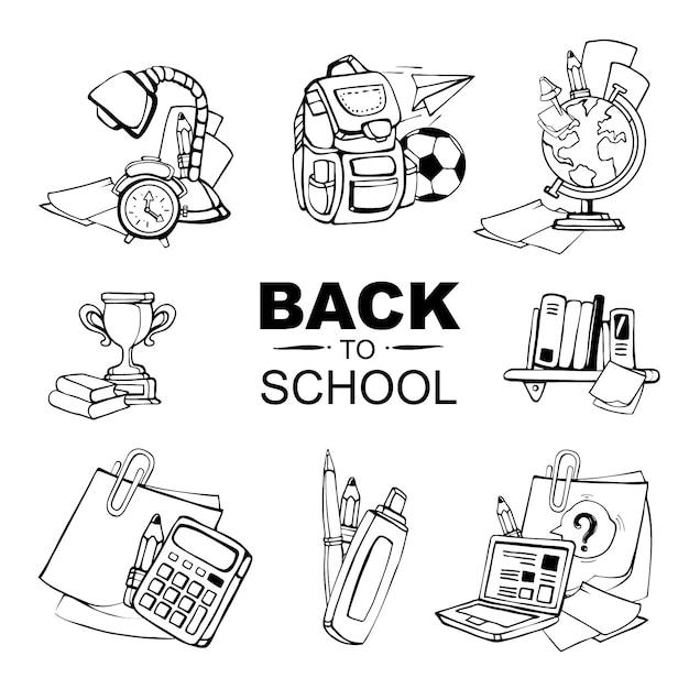 Isoler les icônes conceptuelles avec des éléments de l'école sur blanc Vecteur Premium