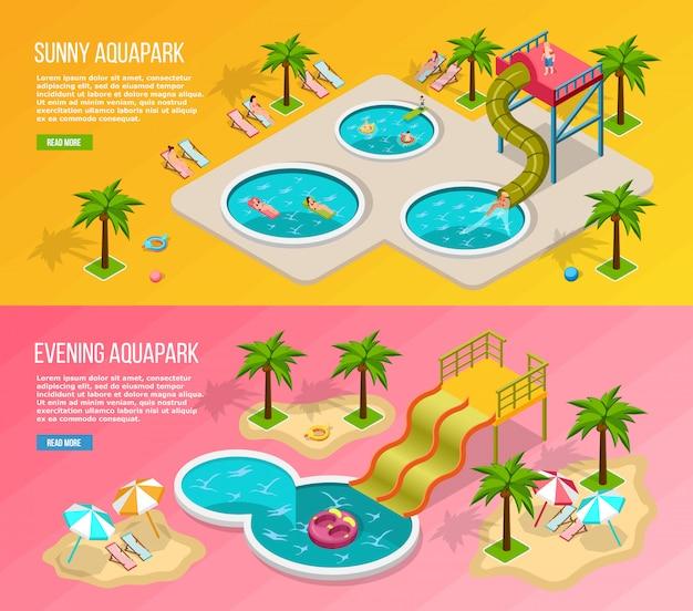 Isometric aqua park banner set Vecteur gratuit