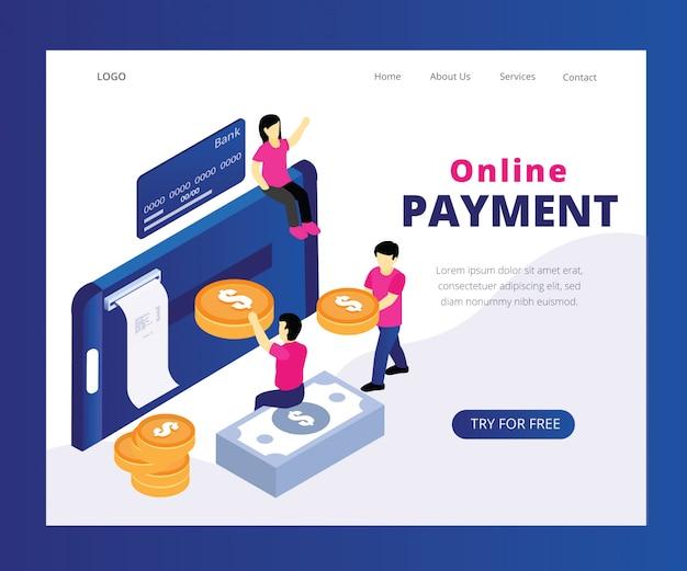 Isometric artwork concept de paiement en ligne. Vecteur Premium