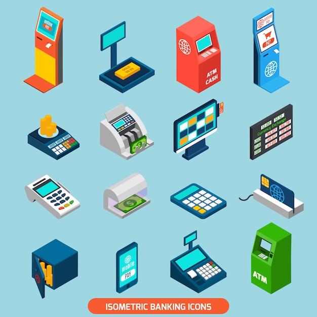 Isometric banking icons set Vecteur gratuit