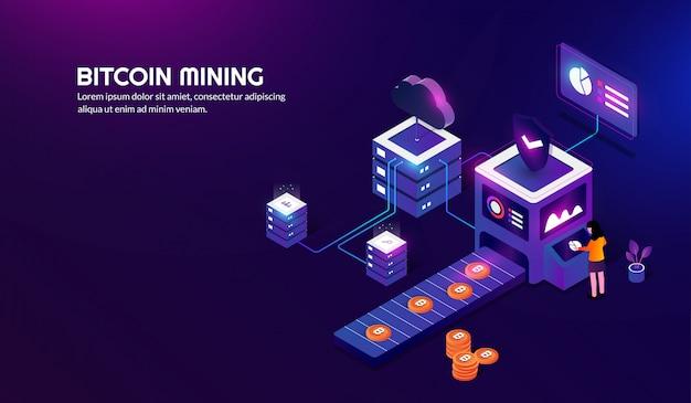 Isometric bitcoin mining concept, arrière-plan de crypto-monnaie Vecteur Premium