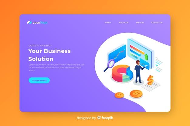 Isometric business landing page Vecteur gratuit