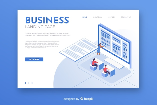 Isometric business landing page Vecteur gratuit