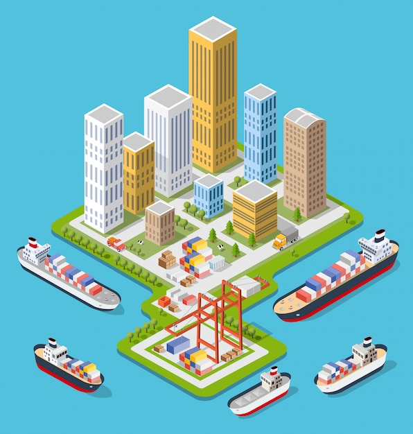 Isometric city boulevard Vecteur Premium