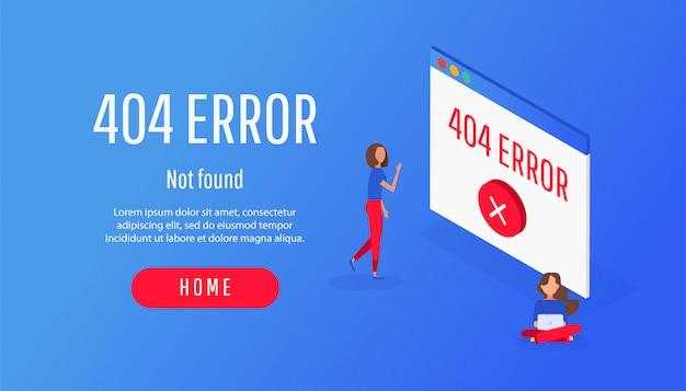Isometric concept 404 icône d'erreur de fichier ou de fichier introuvable. Vecteur Premium