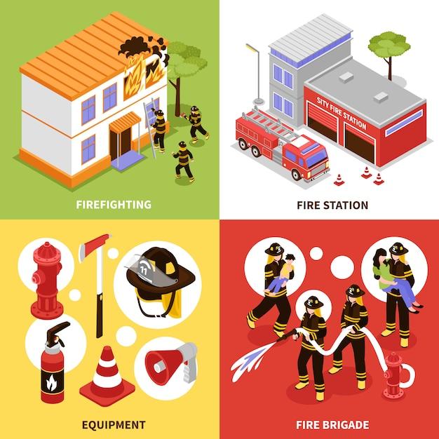Isometric firefighter 2x2 concept Vecteur gratuit