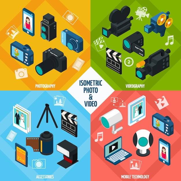 Isometric Photo Video Set Vecteur gratuit