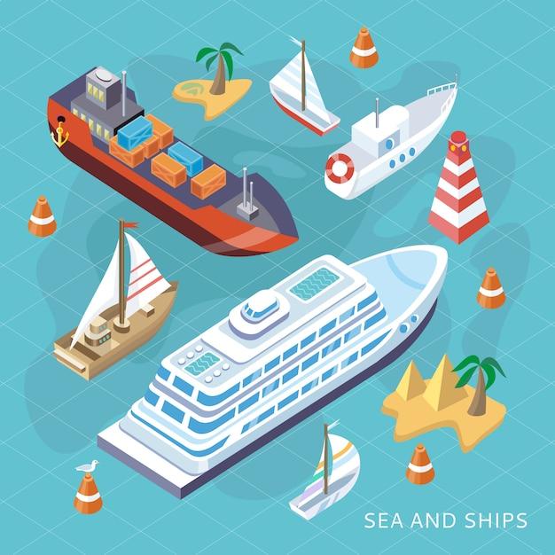 Isometric set ships. transport maritime Vecteur Premium