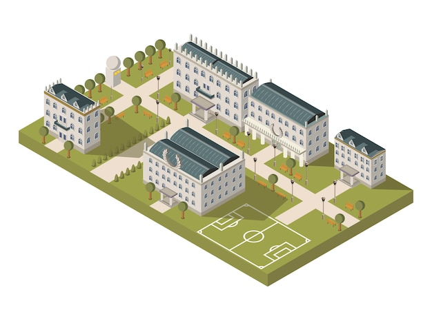 Isometric university campus concept Vecteur gratuit