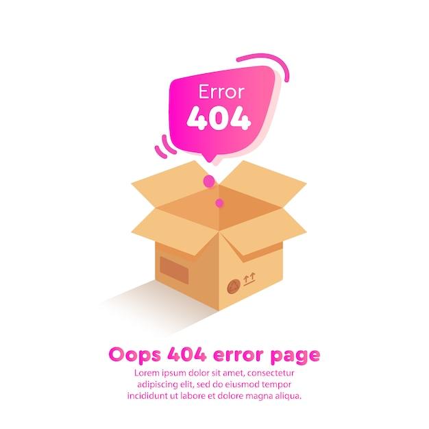 Isometrics design 404 error avec zone vide sur la page du site web Vecteur Premium