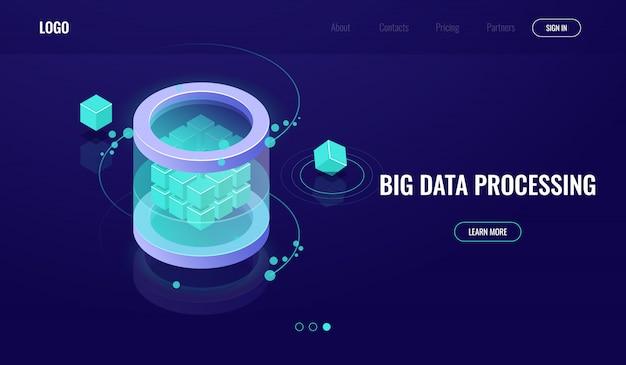 Isométrie big data, science de la technologie numérique, salle des serveurs, centre de données icône base de données Vecteur gratuit