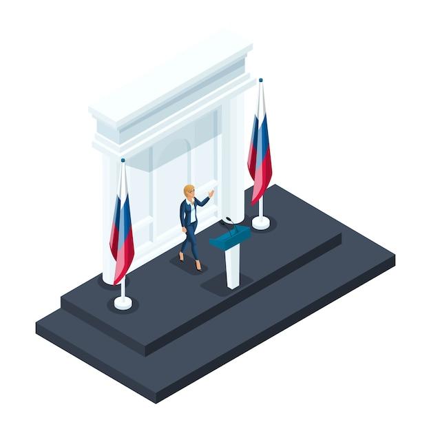 L'isométrie Est Une Femme Présidente, Une Candidate à La Présidentielle Prend La Parole Lors D'un Briefing Au Kremlin. Discours Du Candidat, Drapeau Russe, élections, Vote Vecteur Premium