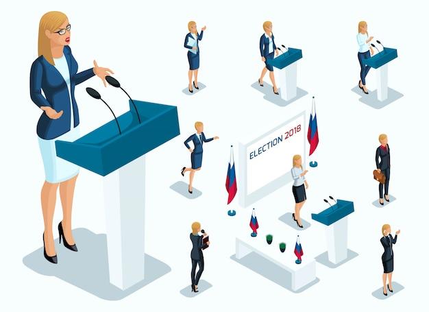 L'isométrie Est Une Femme Présidente, Vote, élections, Débat. Gestes Du Candidat, Slogans D'une Femme D'affaires, Pouvoir, Belles Jambes Et Costumes Coûteux Vecteur Premium
