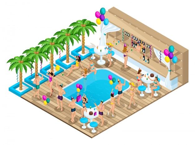 Isométrie D'hommes Et De Femmes Dansant, Fêtant Un Anniversaire, Ibiza, Côte D'azur, Pays Chauds, Riches, Loisirs, Forfait Touristique Vecteur Premium