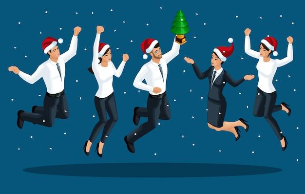 Isométrie Des Hommes Et Des Femmes En Vêtements De Bureau Sautent, Réjouis-toi, Heureux, Le Chapeau Du Père Noël Saute Pour Célébrer La Victoire Vecteur Premium