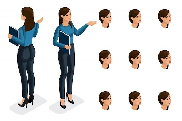 Isométrie De Qualité, Femme D'affaires, Dans Des Vêtements élégants Et Stricts. Personnage, Une Fille Avec Un Ensemble D'émotions Pour Créer Des Illustrations De Qualité Vecteur Premium