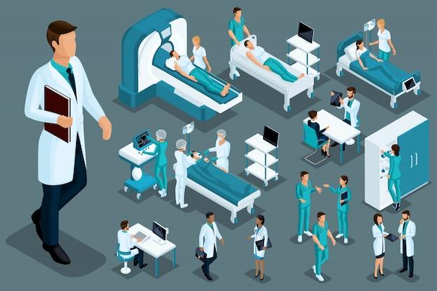Isométrie De Qualité, Personnel Médical Et Patients, Lit D'hôpital, Irm, Scanner à Rayons X, échographe, Fauteuil Dentaire, Salle D'opération Vecteur Premium