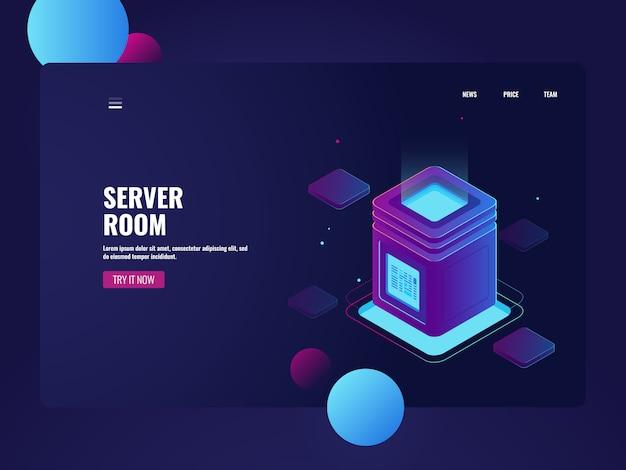 Isométrie de salle de serveurs et de centres de données en réseau, stockage de données en nuage, traitement de données volumineuses Vecteur gratuit