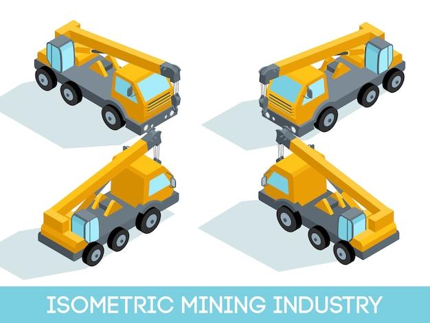 Isométrique 3d Industrie Minière, équipement Minier Et Véhicules Isolés Illustration Vectorielle Vecteur Premium
