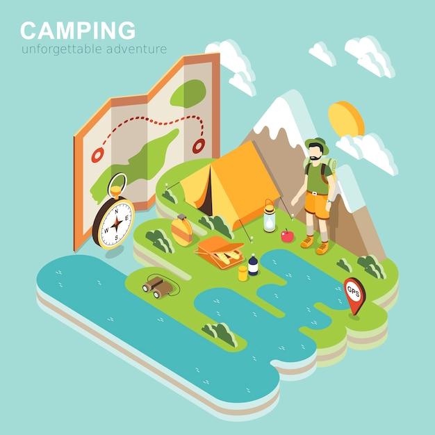 Isométrique De L'aventure De Camping Vecteur Premium
