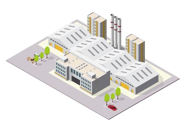 Isométrique Bâtiments Industriels Ou D'usine Vecteur Premium