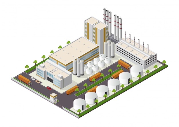 Isométrique Composition De Bâtiments Industriels Avec Vue Sur Les Installations Vecteur Premium