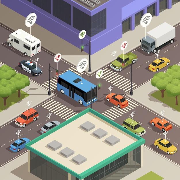 Isométrique du trafic urbain intelligent Vecteur gratuit