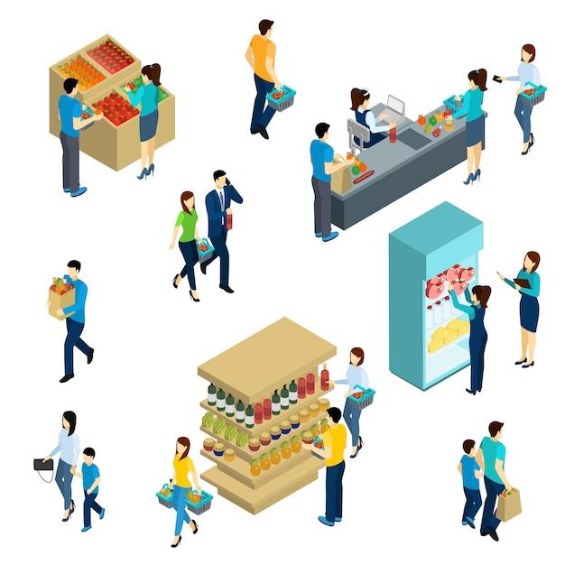 Isométrique personnes shopping Vecteur gratuit