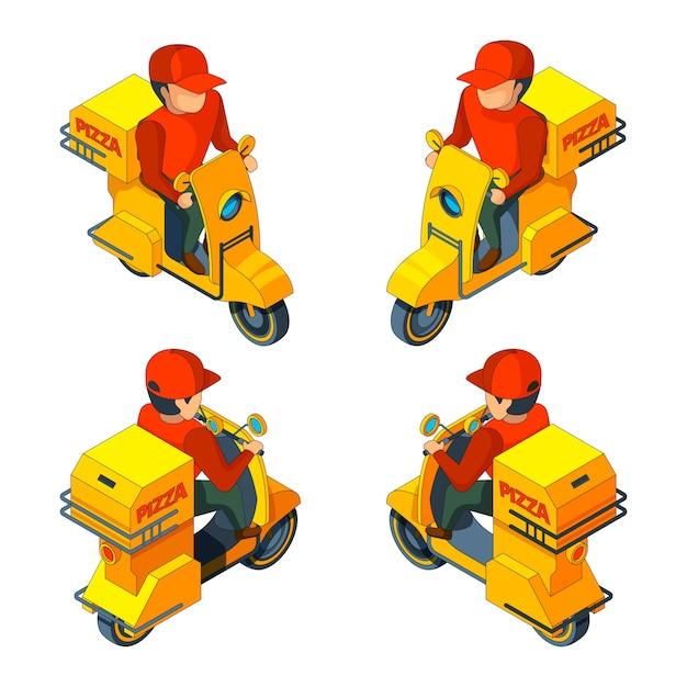 Isométrique plusieurs vues du personnage livreur de pizza Vecteur Premium