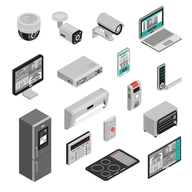 Isométrique smart home set Vecteur gratuit