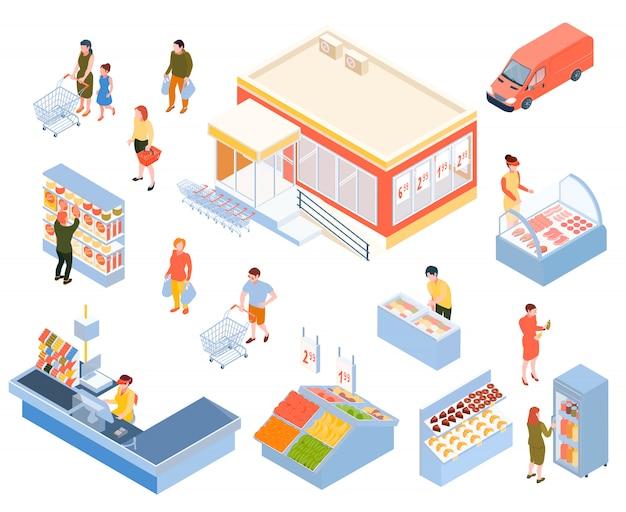 Isométrique supermarché isolé set Vecteur gratuit