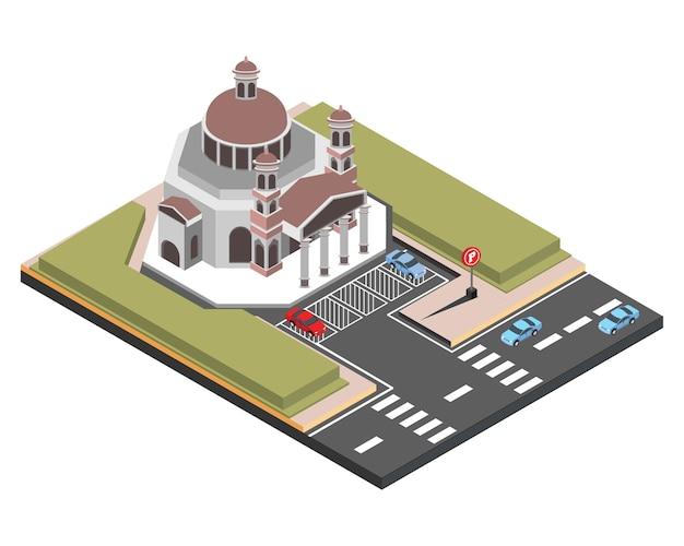 Isométrique vieille église semarang, illustration vectorielle Vecteur Premium