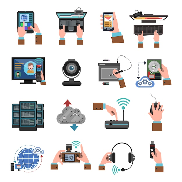 It Devices Icons Flat Vecteur gratuit