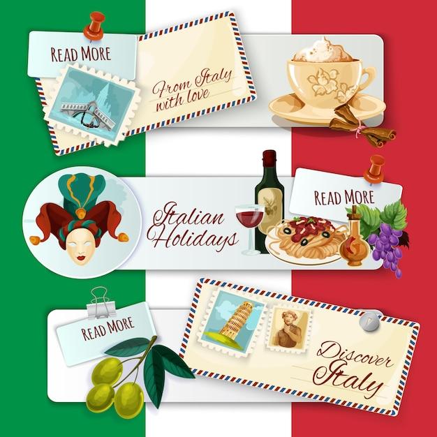 Italie bannières touristiques Vecteur gratuit