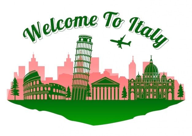 Italie célèbre monument célèbre Vecteur Premium