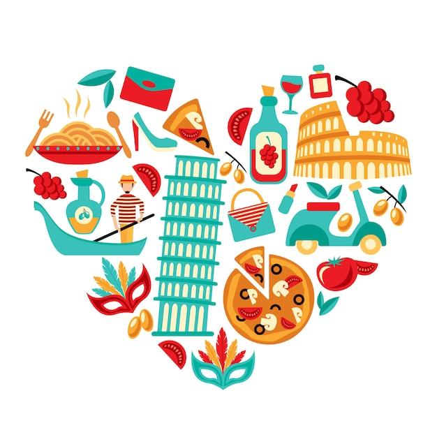Italie Icônes Coeur Vecteur gratuit