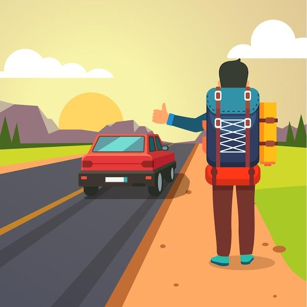 Itinéraire d'auto-stop. emporter homme voiture arrêtée Vecteur gratuit