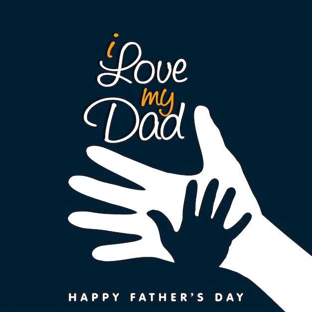 J'aime ma main papa joyeux jour Vecteur gratuit