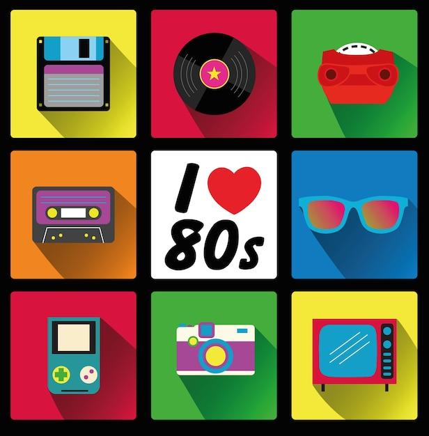 J'aime les années 80 Vecteur Premium