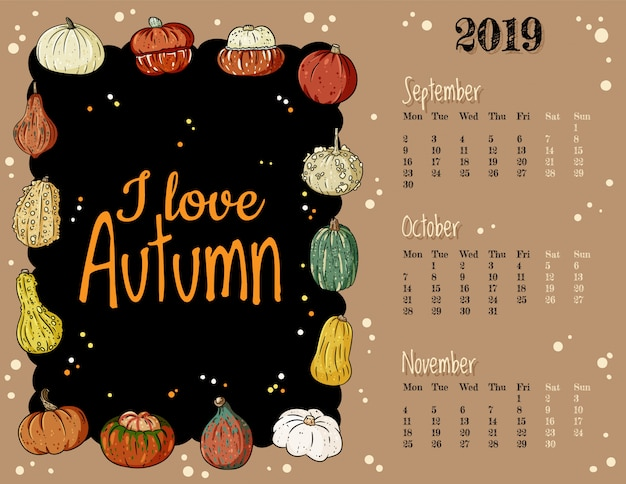 J'aime l'automne mignonne confortable hygge 2019 automne calendrier mensuel avec un décor citrouilles Vecteur Premium