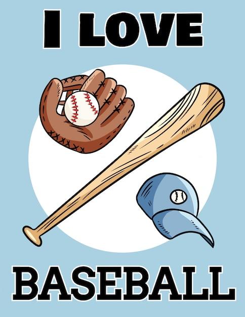 J'aime le baseball, carte postale, batte de baseball, gant et balle, logo de sport d'icône Vecteur Premium